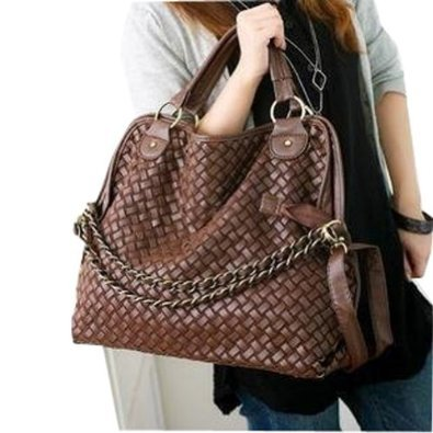 TOP Fashion Women PU Leather Hobo Chain Weaving
