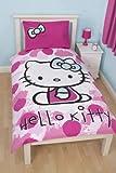 Enfants Hello Kitty Fawn rose et blanc simple housse de couette et taie d'oreiller