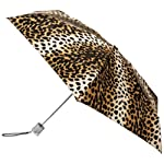 Totes Ladies Signature Micro Manual Compact Umbrella, Leopard, One Size