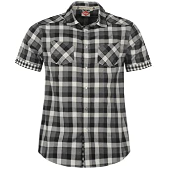 Lee Cooper Short Sleeve West Check Shirt Mens Black/Charc/Wht Small
