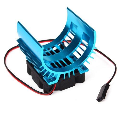 Alloy Heatsink With 4.8-6V Cooling Fan For 1/10 Car 540/550 3650 Size Motor Blue