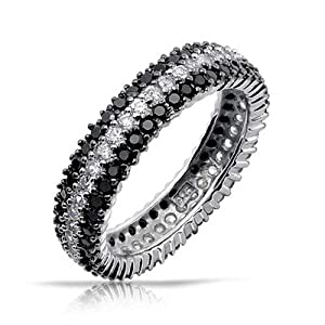 Bling Jewelry 925 Sterling Silver Round Clear and Black Simulated Onyx CZ Eternity Ring