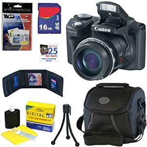 Canon PowerShot SX500 IS 16.0 MP Digital Camera with 30x Wide-Angle Optical IS Zoom (Black) + 6pc Bundle 16GB Accessory Kit