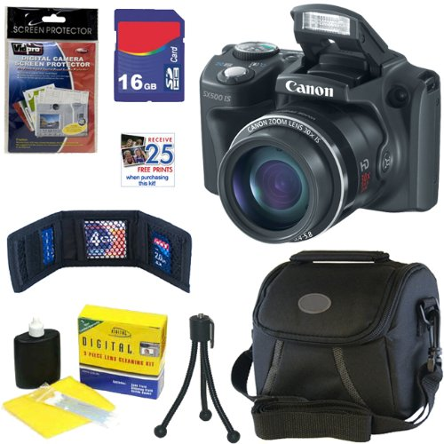 Canon PowerShot SX500 IS 16.0 MP Digital Camera in Black   16GB Memory Card   Classic Camera Bag   Accessory Kit Picture