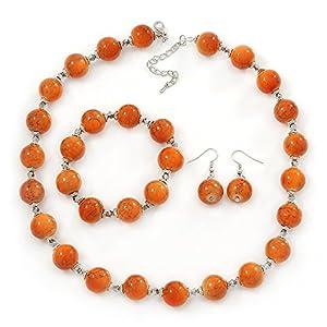 Orange Ceramic Bead Necklace, Flex Bracelet & Drop Earrings In Silver Tone - 42cm L/ 5cm Ext