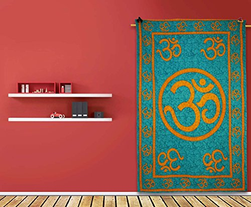 "Decorative Om Print Blue Tapestry Wall Décor Wall Hanging Twin Size Table Runner 82""X 56"" Gift front-992235"