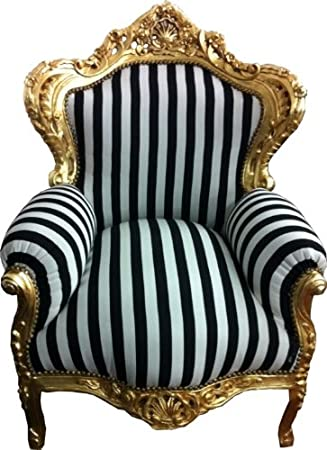 Baroque Armchair 'King' Black / White Stripes / Gold