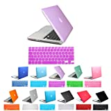 "HDE Frosted Matte Rubber Coated Hard Shell Clip Snap-On Case Cover & Matching Keyboard Skin for Macbook Pro 13"" (Lavender)"