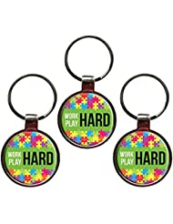 Work Hard Play Hard Inspiring Metal Key Chain Set Of 3