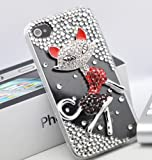51bmrNK6e L. SL160  Smile Case 3D Fox Crystalized Rhinestone Bling Full Cover Case for AT&T Verizon iPhone 4 4S Made with Crystal (4 3D Clear Fox)