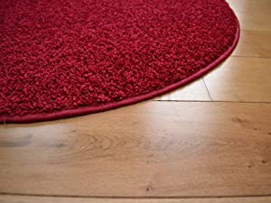 Runder Plain Red Circular Shaggy Pile Rug. Size 100cm Diameter from Rugs Supermarket