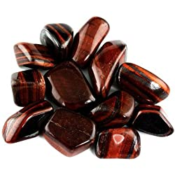 "Crystal Allies Materials: 1/2lb Bulk Tumbled Red Tigers Eye Stones from South Africa - Large 1"" Polished Natural Crystals for Reiki Crystal Healing *Wholesale Lot*"