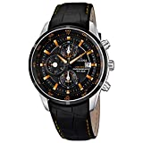 Festina Men's Quartz Watch with Black Dial Chronograph Display and Black Leather Strap F6821/4