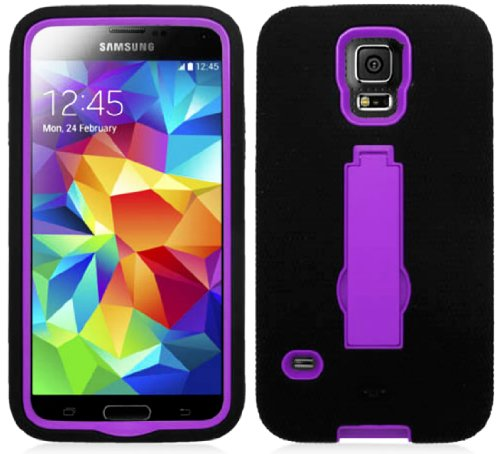Mylife (Tm) Matte Midnight Black And Violet Purple - Shock Suit Survivor Series (Built In Kickstand + Easy Grip Silicone) 3 Piece + 2 Layer Case For New Galaxy S5 (5G) Smartphone By Samsung (External Flex Silicone Bumper Gel + Internal 2 Piece Rubberized