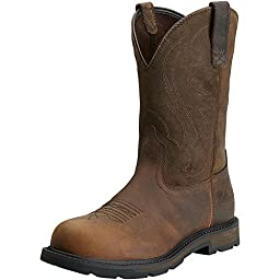 Ariat Men\'s Groundbreaker Pull-On Steel Toe Work Boot, Brown, 14 2E US