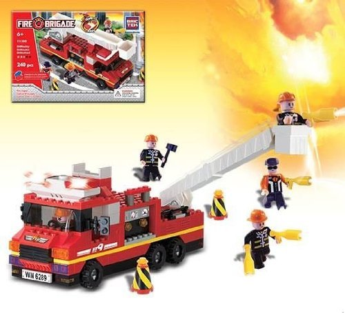 Brictek Fire Engine With Sound And Light Building Kit