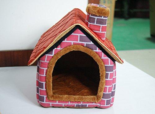 Dida-HundehtteHaustierhtte-Design-Backsteinhaus-verschiedene-Gren-erhltlich-Pink