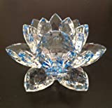 Blue/Clear Crystal Lotus Flower 5 X 5 X 3 inches with Light Stand; Plus a Free Gift Cellphone Anti-dust Plug