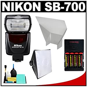 Nikon SB-700 AF Speedlight Flash with Softbox + Bounce Reflector + (4) Batteries & Charger + Accessory Kit for D40, D60, D3000, D3100, D5000, D5100, D7000, D300s, D3 &amp, D3s Digital SLR Cameras