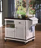 Cherry & White Finish Kitchen Serving Cart with Casters