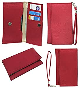 Jo Jo A5 G8 Leather Wallet Universal Pouch Cover Case For Yu YU6000 Red