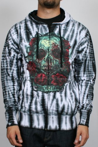 Iron Fist - Santeria Mens Zip Hoodie in White/Black Tie Dye, Size: Small, Color: White/Black Tie Dye