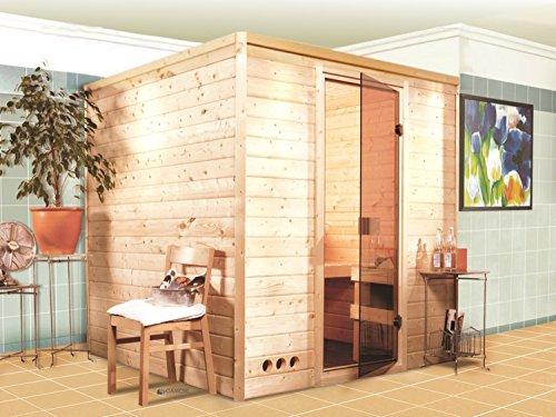Massivholz-Sauna-Lemi-196cm-x-196cm-x-200cm-inkl-Zubehrset-9kW-Saunaofen