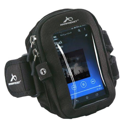 サンワダイレクト スマートフォン iPhone アームバンド アームバンドスポーツケース 洗濯可能 小物ポケット付き ブラック 200-PDA074BK