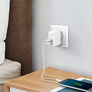 Anker Elite Dual Port 24W USB Travel Wall Charger PowerPort 2 with PowerIQ and Foldable Plug, for iPhone X / 8 / 7 / 7 Plus / 6s / 6s Plus, iPad Pro / Air 2 / mini 3 / mini 4, Samsung S4/ S5, and More