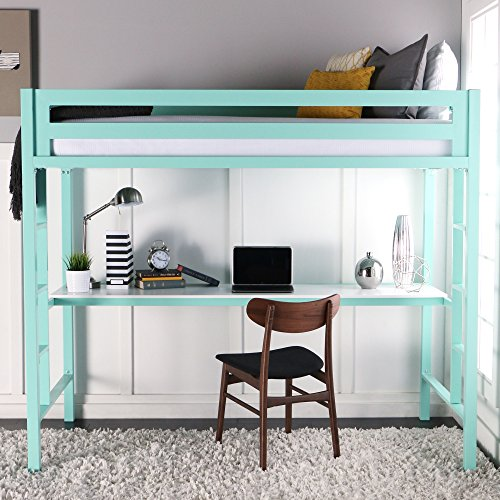 WE Furniture Premium Twin Metal Loft Bed with Workstation, Mint (Loft Beds For Kids With Desk compare prices)