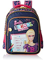 Barbie Polyester 16 Inch Pink And Navy Children's Backpack (MBE - MAT135)