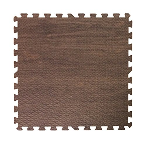 Get Rung Walnut Woodgrain Fitness Mat with Interlocking Foam Tiles for Gym Flooring. Excellent for Pilates, Yoga, Aerobic Cardio Work Outs and Kids Playrooms. Perfect Exercise Mat(WOOD, 168SQFT)
