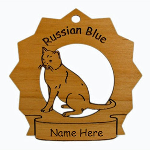 7352 Russian Blue Cat Sitting Ornament Personalized with Your Cat's Name (Russian Blue Cat Ornament compare prices)