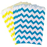 Outside the Box Papers Chevron Treat Sacks 5.5 x 7.5 48 Pack, Yellow, Blue, White