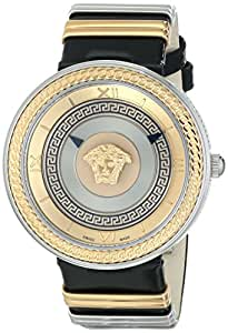 versace women 39 s vlc020014 v metal icon stainless steel watch with black leather band. Black Bedroom Furniture Sets. Home Design Ideas