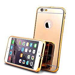 iPhone 6 Case and 9H 0.25mm Tempered Glass Screen Protector, Roybens Luxury Metal Air Aluminum Bumper Detachable + Mirror Hard Back Case 2 in 1 cover Ultra-Thin Frame, Cleaning Cloth For Apple iPhone 6 (4.7) Gold