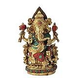 Redbag Lord Ganesha Seated On Lotus Brass Statue ( 24.77 Cm, 15.24 Cm, 6.60 Cm )