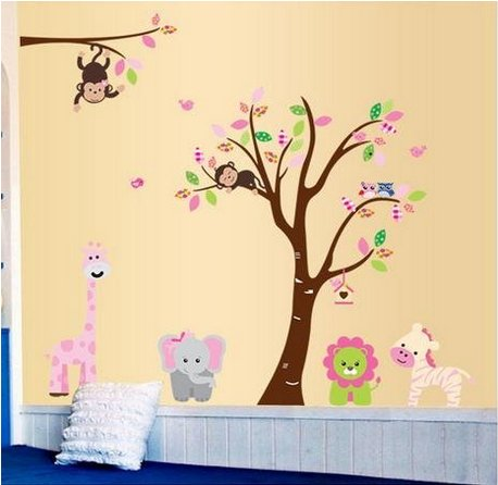 Trend  Wall Stickers Easily Change your Room soferrior Jungle animals around a large colorful
