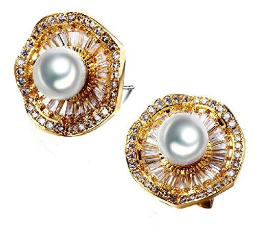 alimab leggermente arrotondata, orecchini da donna placcati in oro 18K Fiore, placcato oro, colore: oro, cod. ABMMNNHHER284
