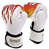 Kagogo Boxing Gloves Muay Thai Training Maya Hide Leather Sparring Punching Bag Mitts kickboxing Fighting UFC (White)