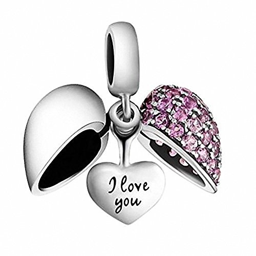 I Love You Heart Charm Bead Crystal - 925 Sterling Silver - Fits Pandora Charms Bracelet, Xmas,Anniversary Gifts (Pandora Charms Number 1 compare prices)