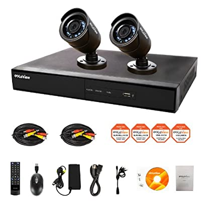 Laview Wide Screen 4-Channel Security System with 2 Cameras (Black) - LV-KDV1402B6BP