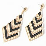 Fashion Golden Rhombus Black Oil Drop Hollow Out Stud Dangle Earrings