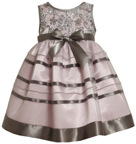 Bonnie Jean Girls Brown Sequin Bonaz Christmas Holiday Dress, Pink, 2T front-966984
