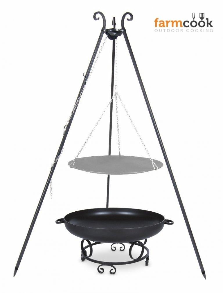 Dreibein Grill VIKING Höhe 180cm + Lagerfeuerpfanne aus Stahl Durchmesser 46cm + Feuerschale Pan43 Durchmesser 60cm günstig bestellen