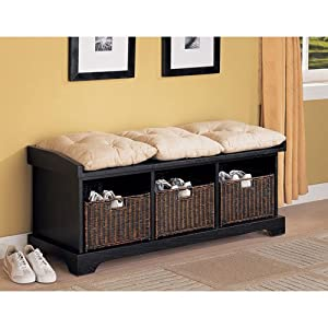 Coaster Entryway Bench with Storage Baskets and Cushions, Black