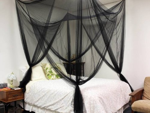 Check Out This 4 (Four) Corner Post Bed Black Canopy Mosquito Net Full Queen King Size Netting