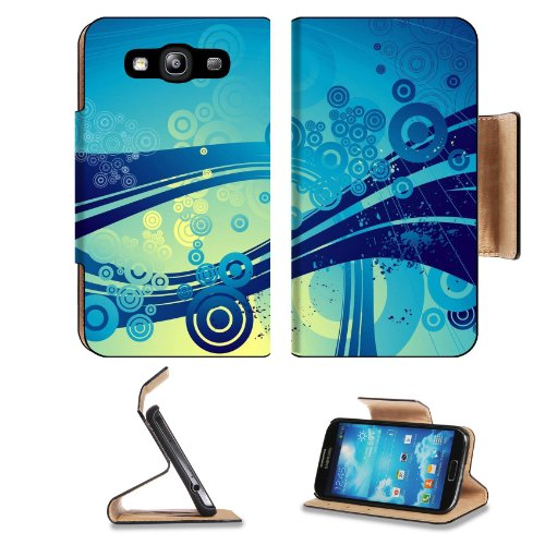 Pattern Blue Round Dot Wave Samsung Galaxy S3 I9300 Flip Cover Case With Card Holder Customized Made To Order Support Ready Premium Deluxe Pu Leather 5 Inch (132Mm) X 2 11/16 Inch (68Mm) X 9/16 Inch (14Mm) Liil S Iii S 3 Professional Cases Accessories Ope