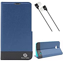 DMG Microsoft Lumia 640 XL Flip Cover, DMG PRaiders Premium Magnetic Wallet Stand Cover Case for Microsoft Lumia 640 XL (Pebble Blue) + Black Stereo Earphone with Mic and Volume Control