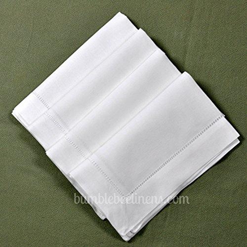 "White Linen Hemstitched Dinner Napkins Set of 4 20"" X 20"" Ladder Hem Stitch Cloth Napkin"